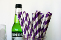 Vente en gros-Purple pailles de papier Striped Party Supplies Décoration Party Bar Panier Accessoires Cake Pop Sticks Mason Jar Straws