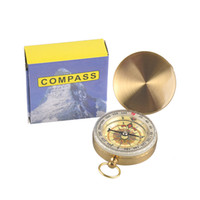 Wholesale Brass Navigation Compass - Useful Outdoor Sports Camping Hiking Portable Brass Pocket Golden Multifunction Fluorescence Compass Navigation Camping Tools 2503037