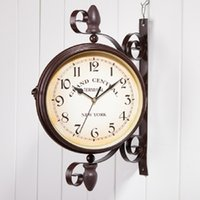 Wholesale Two Sided Clocks - Wholesale- Double Side Wall Clock Wrought Iron Wall Clocks Digital Watch Vintage Saat Relogio de Parede Reloj de Pared Horloge Murale Klok