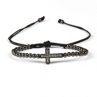 Wholesale 4mm Brass - New Design Jewelry Wholesale 10pcs lot Top Quality 4mm Brass Beads Micro Paved Clear Cz Loyal Cross Jesus Macrame Bracelet for Gift