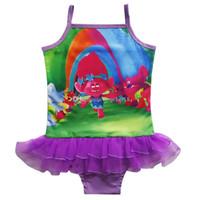 Wholesale Swimming Beach Cartoon - Wholesale Girls Kids Trolls Swimsuits cartoon Trolls Swimwear Bikini baby Girls Beach Swimming Costumes 8 colors C1792