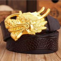 männer taillenarten großhandel-Neue Artgürtelqualität Markenentwerfer gürtelt Luxuxgurte für Männer kupferne Dracheschnallgürtelmann- und -frauentaille echte Ledergürtel