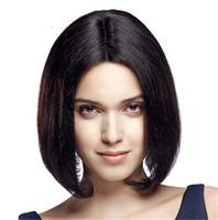 ingrosso parrucche dei capelli umani brasiliani-Parrucca diritta stile Yaki in pizzo parrucca anteriore in pizzo con parrucca in pizzo brasiliano per donne nere FDSHINE