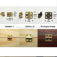 Wholesale Dollhouse Wood - Wholesale- 12pcs Mini Small Light Golden Antique Brass Bronze Jewelry Chest Gift Music Box Wood Case furniture Dollhouse Cabinet Door Hinge
