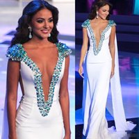 Wholesale Mermaids World - Miss World 2017 Beauty Queen Pageant Evening Gowns White Sheath Satin Beading Cap Sleeves Plunging V-Neck Prom Gowns Formal Occasion Dresses