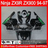 Wholesale 95 Zx9r Fairings - 8Gifts 23Colors For KAWASAKI NINJA ZX 9 R ZX9R 94 95 96 97 900CC 49HM5 gloss black ZX 9R ZX900 ZX900C ZX-9R 1994 1995 1996 1997 Fairing kit