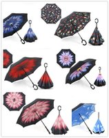 Wholesale Beach Umbrella Fabric - Creative Inverted Umbrellas Double Layer With C Handle Inside Out Reverse Windproof Umbrella Rainy Sunny Beach Umbrella IUHF01-06