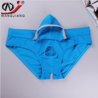 Wholesale Enhance Pouch Underwear - WJ Brand Men Underwear Mesh Men's Briefs Sexy Movable Open Sheath Pouch Penis Enhancing Underwear Men Gay Bulge Jockstrap Cueca Shorts