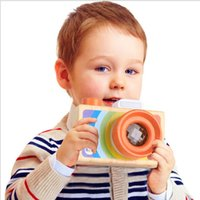 Wholesale Wholesale Kaleidoscope Toy - Rainbow Children Wooden Simulation Camera kaleidoscope Christmas Kids Travel Toy Baby Safe Natural Wood Birthday Gift Decoration Kids' Room