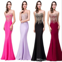 Wholesale Elastic Satin Dresses - Robe De Soiree 11 Colors Cheap Sexy Mermaid Prom Dresses 2017 Sheer Jewel Neck Appliques Sleeveless Long Formal Evening Dresses CPS262