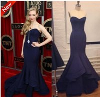 Wholesale Slight Sweetheart - 2018 Actual Images Navy Blue Evening prom Dresses Slight V-Neck Mermaid Ruffled Court Train Celebrity Gown