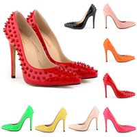 Zapatos Mujer Femmes Pointed Toe Pumps Chaussures de mariage Studded Spike Talons hauts Sexy Stilettos US Taille 4-11 Femmes Chaussures D0075
