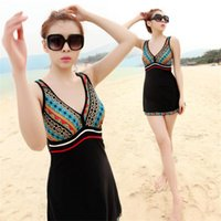 Wholesale Conservative Skirts - Europe and America one-piece swimsuit triangular skirt printed thin belly fat and increase the conservative spa Bikini Swimsuit female