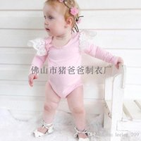 Wholesale Baby Bloomer Dress - XMAS hot Baby girl toddler Summer clothes clothing cotton long sleeve lace romper onesies diaper covers bloomers dress fly sleeve princess