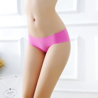 Wholesale Ice Silk Lingerie - Sexy Women Underwear Knickers Seamless Panties Briefs Ice Silk Ladies Invisible Temptation Lingerie Cotton Spandex Underpants M L