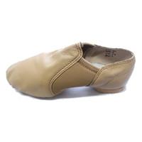 Wholesale Women Spandex Unitards - Girls Dance Shoes Kids Tan Leather Slip-on Jazz Performance Shoes Women Latin Dance Training Ballet Shoes