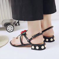 Wholesale Comfortable Party Heels - summer women sandals female Women fine with a single shoe channel comfortable flats flip gladiator sandals party wedding shoes