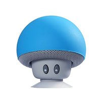 Wholesale Mushroom Wireless Bluetooth Speaker with Built in Battery LED Night Light Hands Free for All Devices with USB Blue