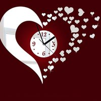 Wholesale Heart Shaped Decorations Home - Large Wall Clocks Acrylic Heart-Shaped Mirror Wall Clock Plastic Removable Stickers Home Decor Living Room Poster House Decoration