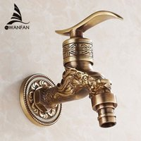 Wholesale Brass Antique bronze bibcock cold tap washing mashine faucet toilet bibcock copper bibcock tap Garden faucet HJ F