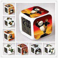 Wholesale Led Panda Lamp - Wholesale- 2017 New Kung Fu Panda Po LED Glowing Alarm Clock Animal Panda Toys Kids Wake Up Table Despertador Panda Lamp Lighting Box Gift