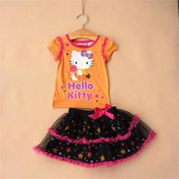 Wholesale Girls Kitty Suit - Baby girls Halloween outfits Cartoon kitty printing top+skirt 2pcs set Cotton baby suits kids Clothing C024