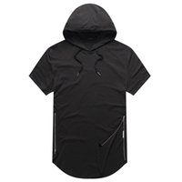 Wholesale Wholesale Hipster Clothes - justin bieber clothes Mens Longline Curve Hem t shirt Hooded Mens Hipster Hip Hop Side Zip short sleeve T shirt free shipping