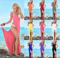 Wholesale Multicolored Skirt - Sexy European and American multicolored beach skirt female bandage club suspender dress women summer beach bikini cover dress