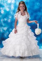 ingrosso rivestimento di cerimonia nuziale del vestito dalla ragazza di fiore-2016 New Elegant Lovely Girl Christmas Princess Compleanno Prom Wedding Ballo Ball Pageant Flower Girl Dress con la giacca