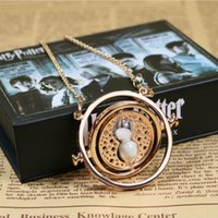 Wholesale Hermione Granger Time Turner - Harry Necklace Jewlery Silver Time Converter Hermione Granger Rotating Time Turner Chain Sablier Pendant Gold Necklace Sandglass Hourglass