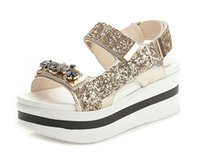 Wholesale Gold Wedge Shoes Women - Summer Style Sandals For Women Shoes Fashion Rhinestone Platform Sandals Casual Open Toes Ankle Strap Shoes. LX-048
