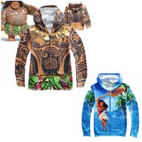 Wholesale Theme Clothing - Graphic Moana and Maui Hoodies for Children Boys and Girls 3D Print Sweatshirts Cartoon Theme Costumes Kids Clothes Back to School Supplies