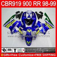 Wholesale Cbr 919 Fairings - Body For HONDA CBR 919RR CBR900RR CBR919RR 98 99 CBR 900RR Movistar Blue 68HM14 CBR919 RR CBR900 RR CBR 919 RR 1998 1999 Fairing kit 8Gifts