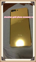 Wholesale Iphone Gold Middle Plate - 2018 hot For iPhone 7 7 plus 24kt 24ct 24k mirror gold plated housing cover chassis middle frame replacement free shipping