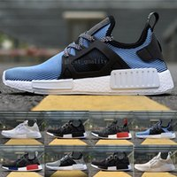Wholesale Cheap Ladies Leather Shoes - Cheap NMD Runner R1 Mesh Salmon Talc Cream Olive Triple Black Men Women Running Shoes Sneakers Ladies xr1 Primeknit Sports Trainers US 5-11