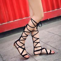 Wholesale Bandage Sandals - Wholesale-2016 New Bandage Women Sandals Boots Flat Summer Shoes Woman Large Size Knee High Gladiator Sandals Plus Size EU34-43 WSH2029