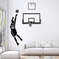 Wholesale boys wall art stickers - Basketball Men Boys Wall Stickers Sports Wallpaper Wall Decals Art Kids Boys Room Home Decorations free shipping