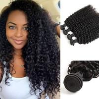 bakire kıvırcık afro örgü toptan satış-Perulu Kıvırcık İnsan Saç Örgüleri 4 Demetleri 10A Perulu Bakire Saç Sapıkça Kıvırcık Uzantıları Afro Kinky Bukleler Saç Örgüleri