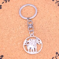Wholesale Antique Solid Silver - New Fashion circle elephant Keychains Vintage Antique Silver plated Keyholder fashion Solid Pendant Keyring gift
