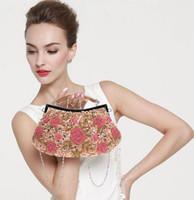 Wholesale Evening Dresses Bags - Wholesale-2016 new rose beaded clutch bag wedding dress Evening Bags handbag elegant women chains handbag bridesmaids package