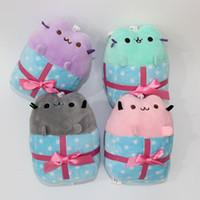 "Wholesale Wholesale Small Christmas Stuffed Animals - New Kawaii Brinquedos Small Pendant Pusheen Cat Doughnut Keychain Stuffed Plush Animals Toys For Girls -dr (4pcs Lot   Size:4"" 10cm)"
