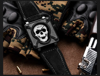 Wholesale pirates watches online - 2017 Pirate Skull vintage Style Quartz male Watches square dial Brand Military Men Sports wrist Watch horsemen Waterproof Relogio Masculino