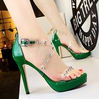 Wholesale Women Flatform Sandals - Woman Shoes Pump High Heels Sandals Buckle Peep Toe Sildes Rivet Flatform Shoes White Red Green Black Silver Nude Color