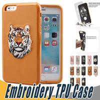Wholesale Embroidery Cases Iphone - For Sumsung S8 Fashion Embroidery Phone Case Soft TPU Shockproof Cover For iPhone 7 6S 6 Plus Sumsung S8 Plus