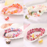 Wholesale Wholesale Cat Female Ring - Wholesale- summer style lucky cat crystal natural stone bracelet multilayer beaded bracelet for women jewelry female gift