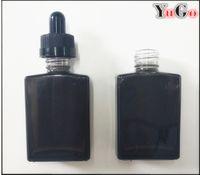 Wholesale Glass Bottles 1oz - GS-2#-30ml 1oz Glass Rectangular Bottle Translucent Black E-Liquid Bottle;Child Proof Resistant Cap;Slender Dropper Pipette