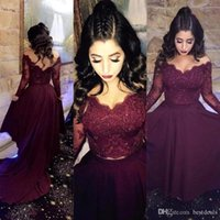 Wholesale See Through Sexy Prom Dresses - Sexy Long Sleeve Burgundy Two Pieces Prom Dresses 2017 Lace Wine Prom Gowns Crystal Beaded See Through Party Formal Evening Gowns