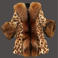 Wholesale Long Mink Coats Sale - Long mink fur coat sale 2017 winter women's large leopard fur bag S-10XL retro elegant fashion warm jacket jacket warm