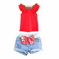 Wholesale Bow Knot Jeans - Wholesale- 2 Colors Girls Kids Ruffled Sleeves T-shirt+ Bow-knot Jeans Pants 2 PCS Set 1-6Y