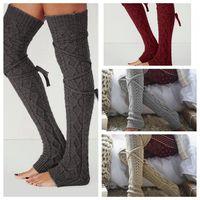 Wholesale cable knit knee socks - Women Winter Warm Cable Knitted Long Boot Socks Over Knee Thigh High Stockings Socks Leggings LJJO2930